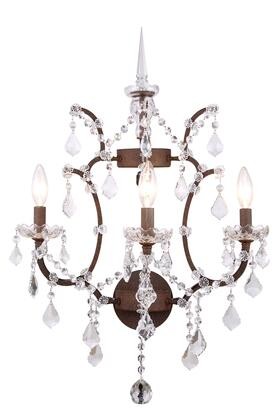 1138W17RI/RC 1138 Elena Collection Wall Sconce D: 17in H: 22in Lt: 3 Rustic Intent Finish Royal Cut Crystal