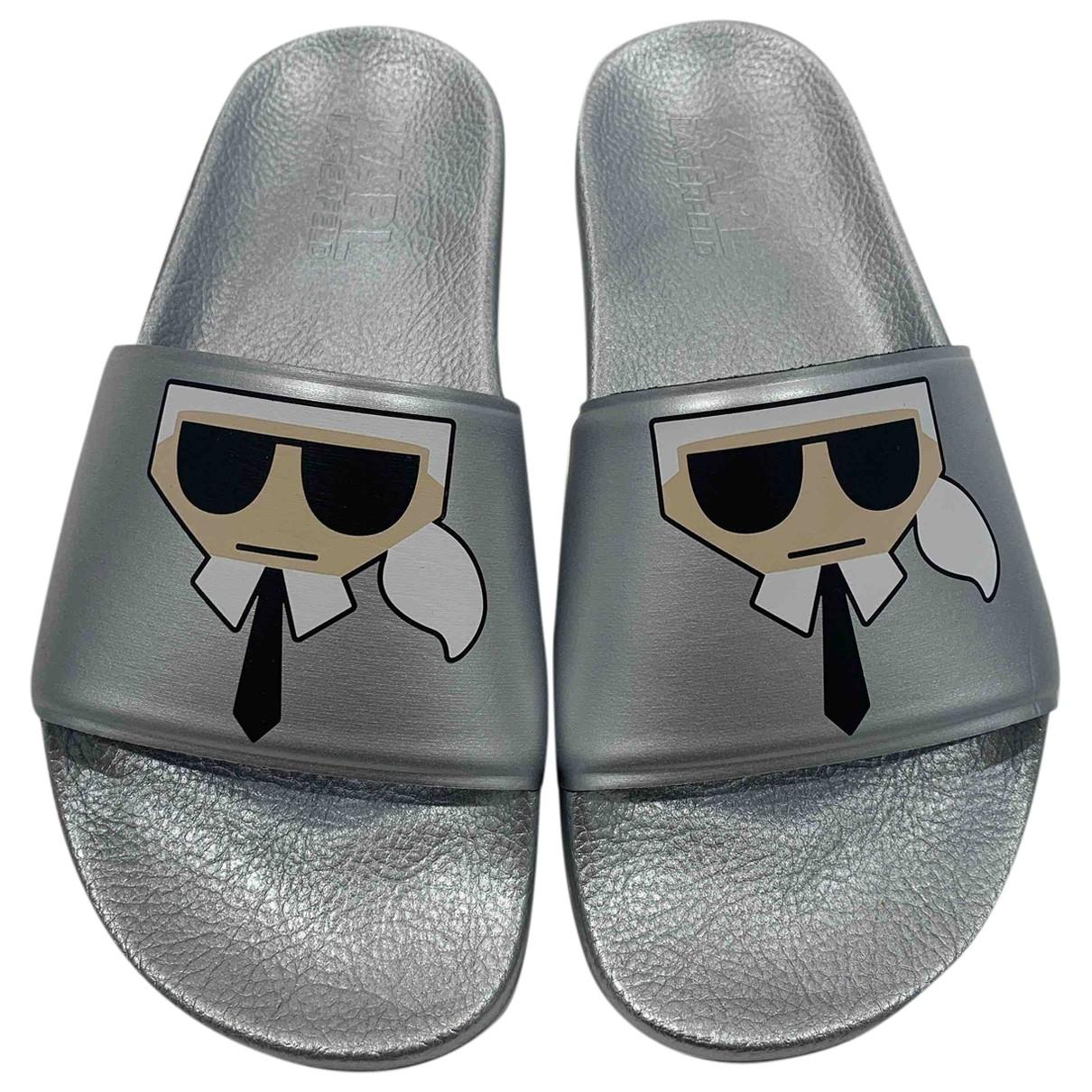 Karl Lagerfeld \N Silver Rubber Sandals for Women 37 IT