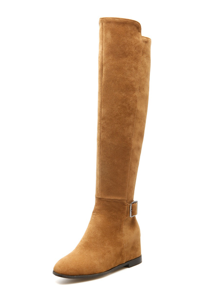 Milanoo Knee High Boots Womens Micro Suede Buckled Round Toe Flat Heel Boots