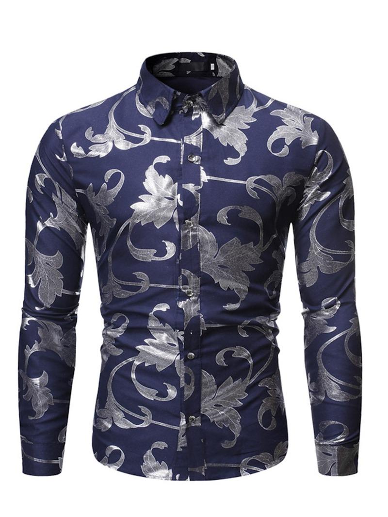 Ericdress Lapel Print Casual Single-Breasted Men's Slim Shirt