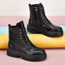 Lace-up Front Side Zip Combat Boots