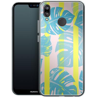 Huawei P20 Lite Silikon Handyhuelle - Linocut Monstera Neon von Bianca Green