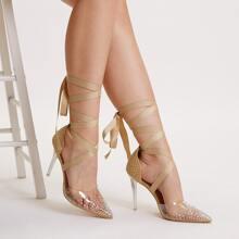 Tacones de pierna con cordon transparente con diamante de imitacion