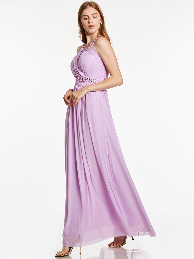ERicdress Straps Sleeveless Pleats Beaded Ankle-Length Evening Dress
