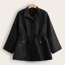 Plus Drawstring Flap Pockets Windbreaker Jacket