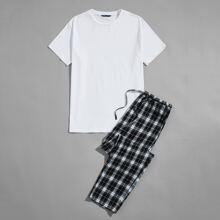 Schlafanzug Set mit rundem Kragen, Plaid Muster und Kordelzug um die Taille