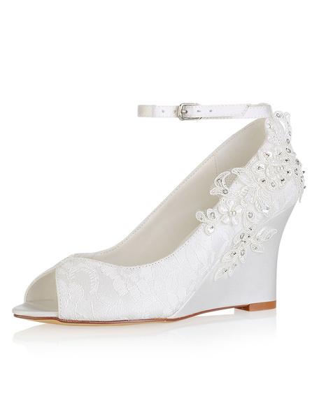 Milanoo Zapatos de novia de encaje Zapatos de Fiesta de tacon de cuña Zapatos marfil  Zapatos de boda de punter Peep Toe 8cm de encaje