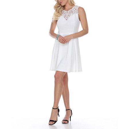 White Mark Taja Sleeveless Fit & Flare Dress, Large , White