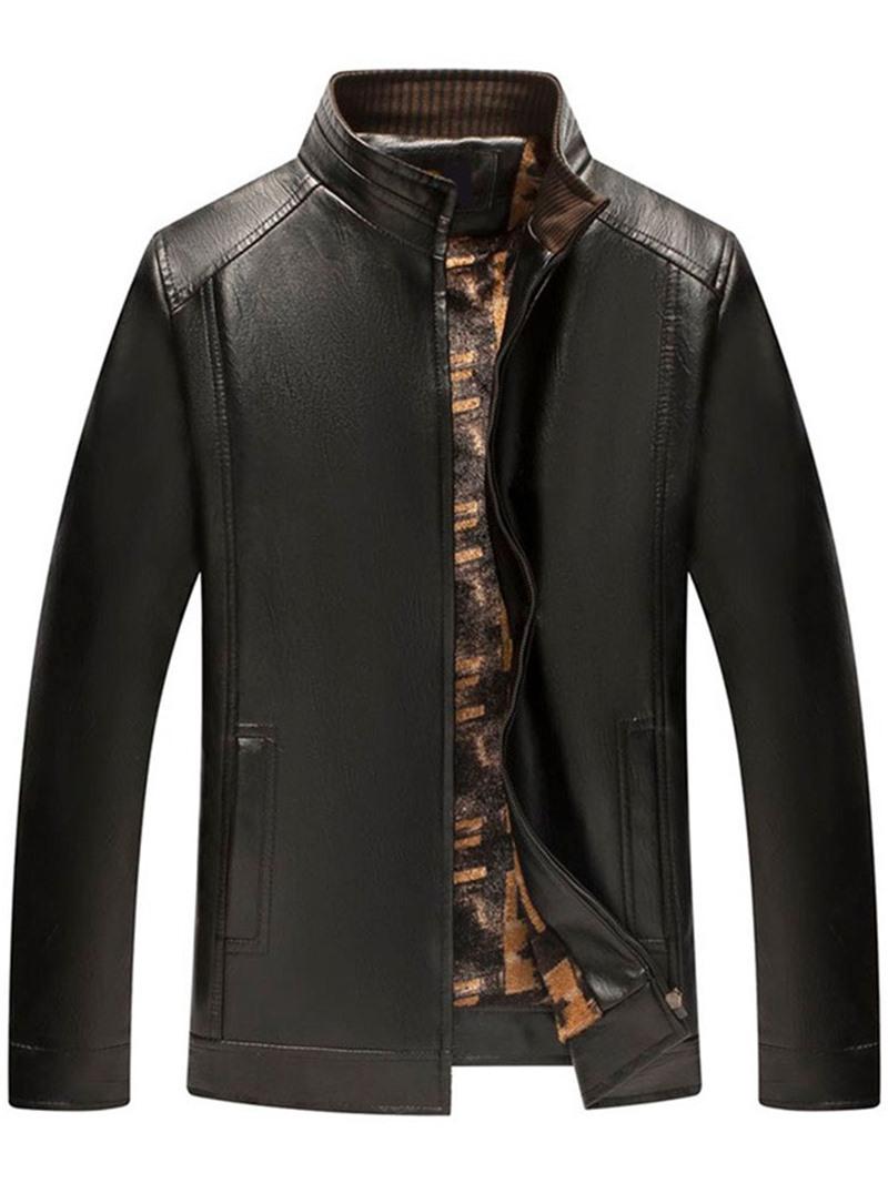 Ericdress Standard Stand Collar Plain Winter Pocket Leather Jacket