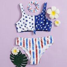 Bikini Badeanzug mit Streifen & Stern Muster und Haarband