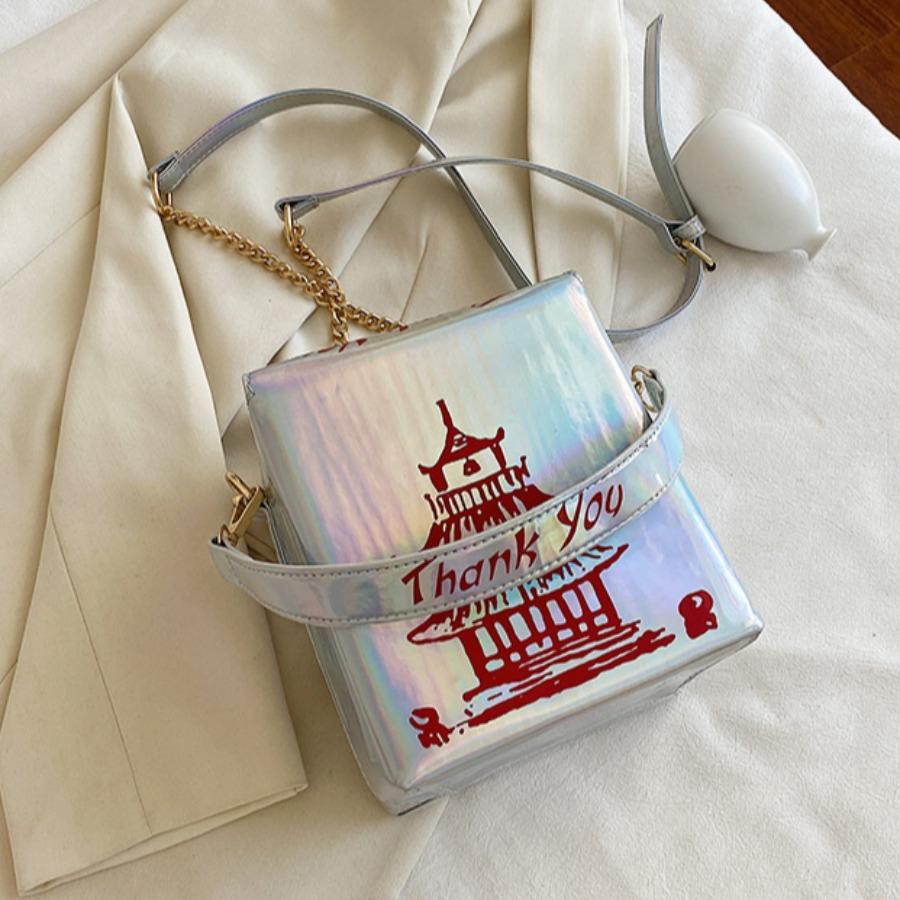 LW lovely Chic Print Silver Crossbody Bag