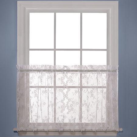 Petite Fleur Rod-Pocket Window Tiers, One Size , White