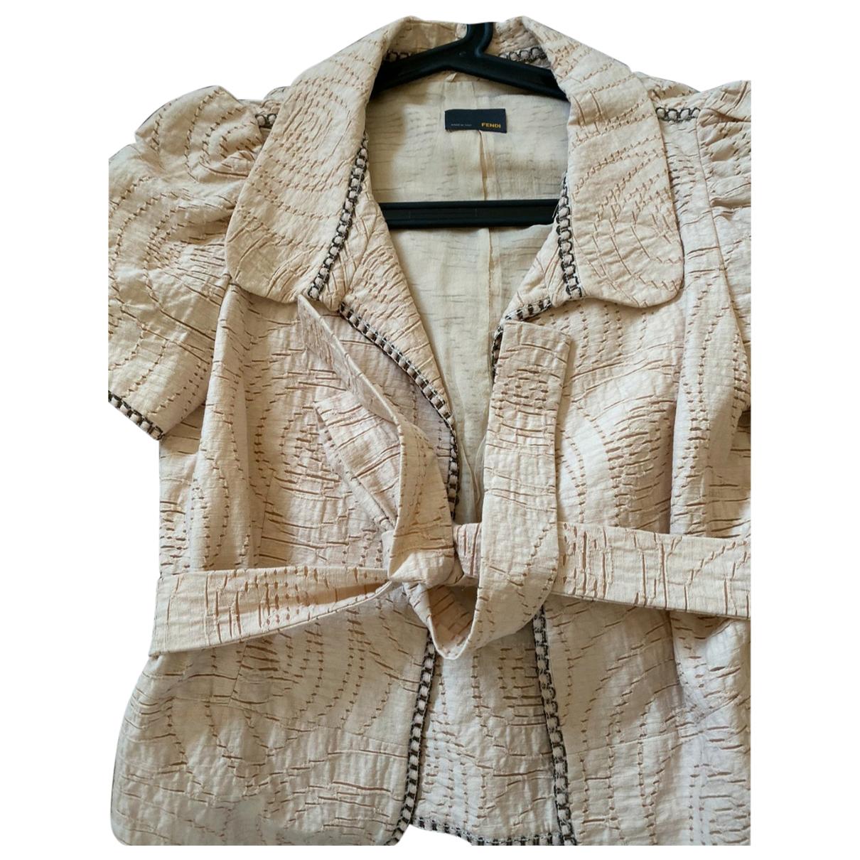 Fendi - Veste   pour femme en coton - ecru