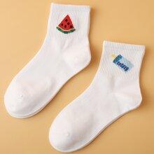 2 pares calcetines con patron de fruta y botella de bebe