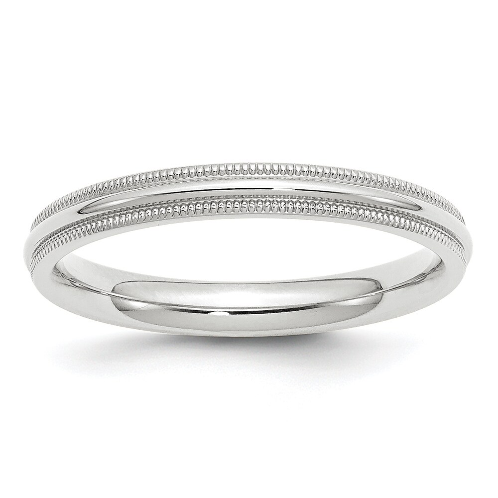10 Karat White Gold 3mm Milgrain Comfort Fit Band by Versil (5)