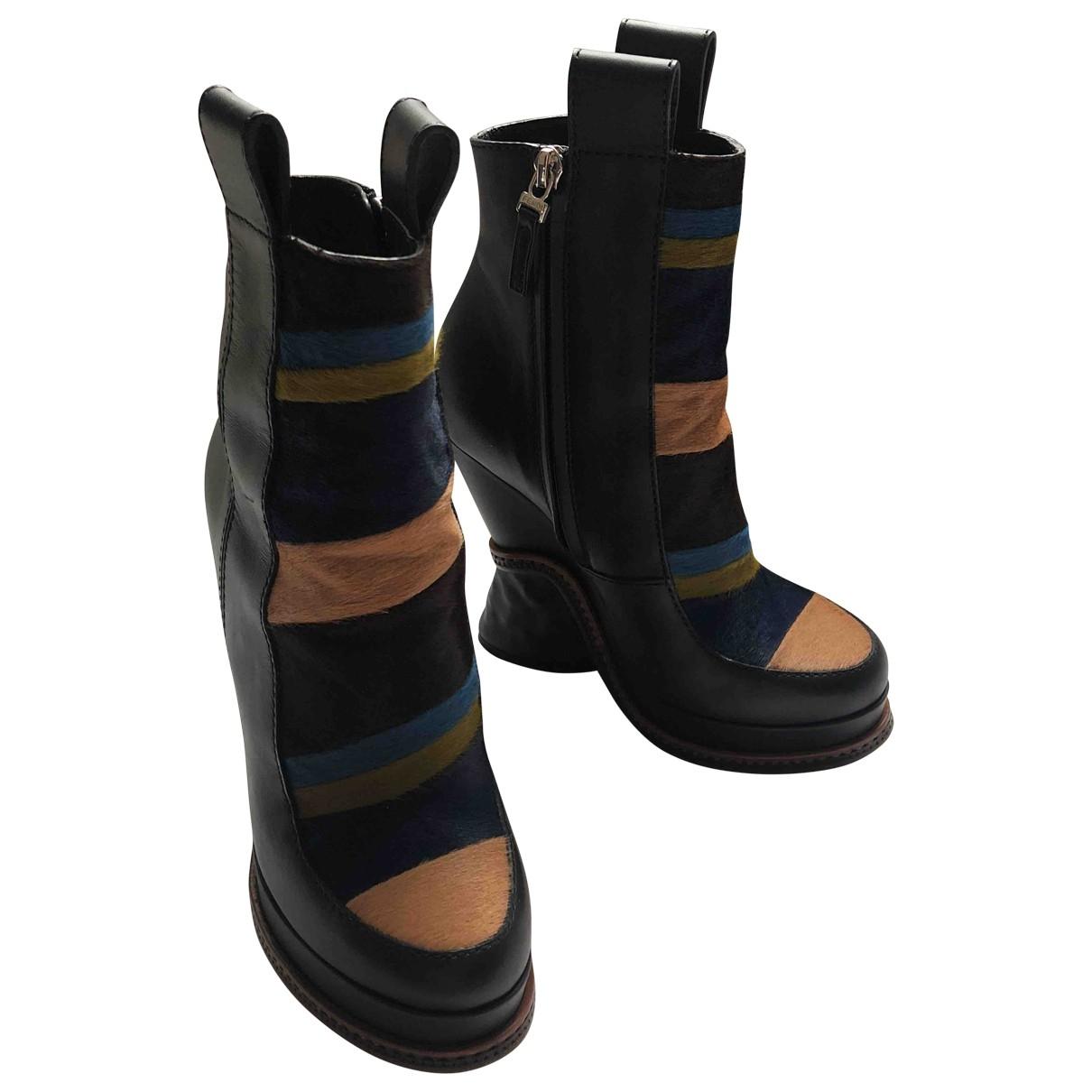 Fendi - Bottes   pour femme en cuir - multicolore