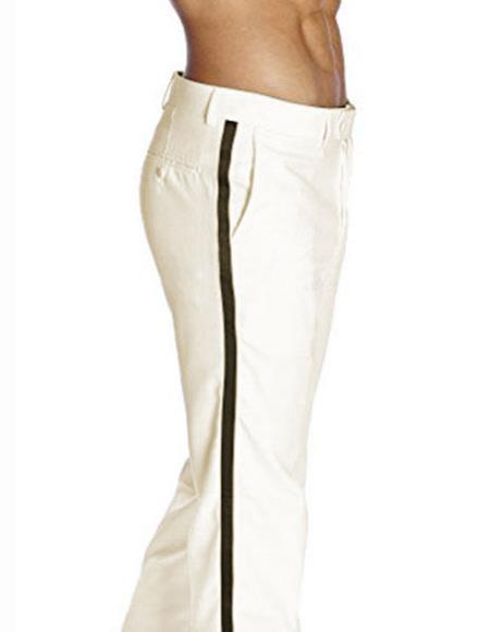 Men's Black Satin Stripe Fit Solid Ivory Tuxedo Flat Front Pant