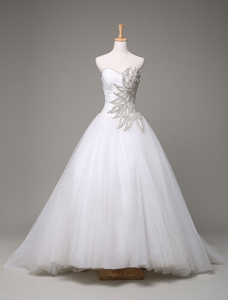 Milanoo Sweatheart Wedding Dress Ball Gown Beading Rhinestone Court Train Bridal Dress