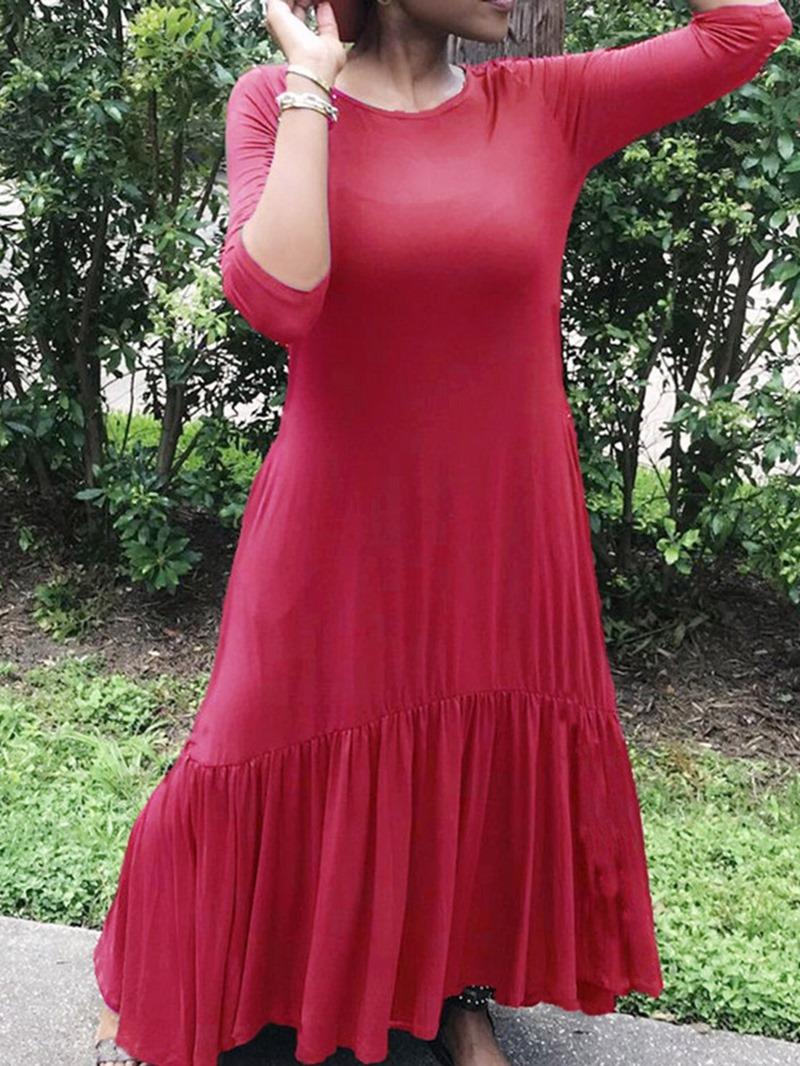 Ericdress Plain Ankle-Length Pleated High Waist Casual Dress