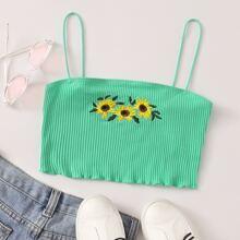 Crop Camisole mit Sonneblume Stickereien