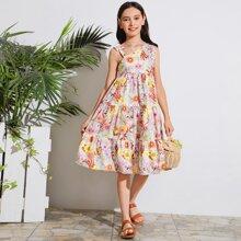 Kleid mit asymmetrischem Kragen und Blumen Muster