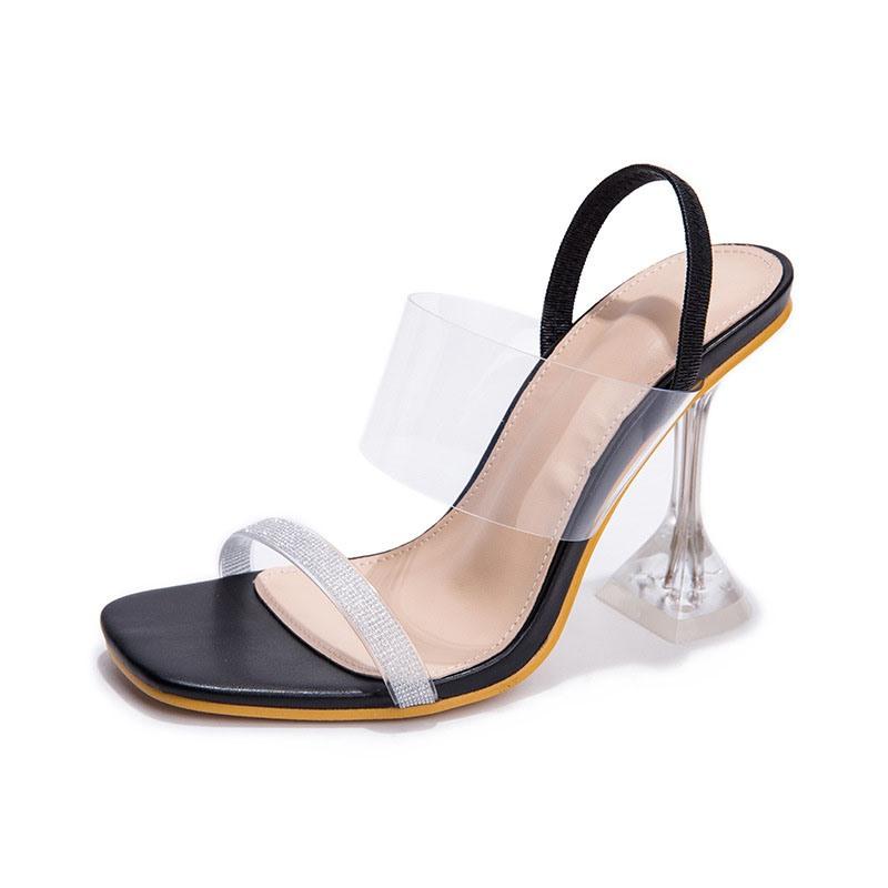 Ericdress Stiletto Heel Square Toe Slip-On Thread Sandals