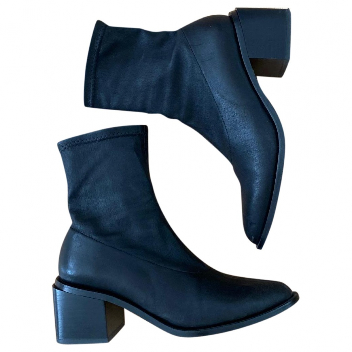 Robert Clergerie \N Black Leather Ankle boots for Women 36 EU