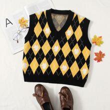 Sleeveless Argyle Pattern Sweater Vest