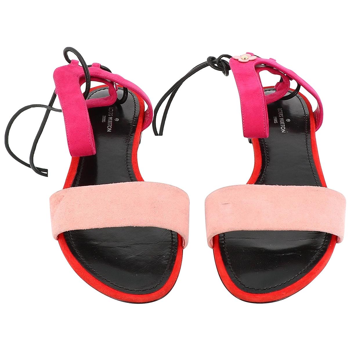 Louis Vuitton - Sandales   pour femme en suede - rose