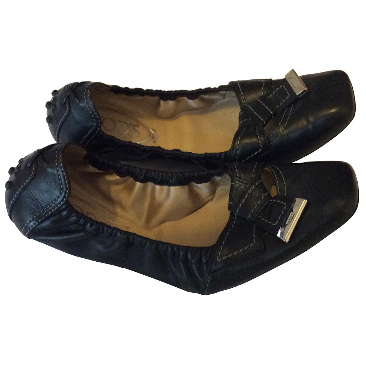 Tod's - Ballerines   pour femme en cuir - noir