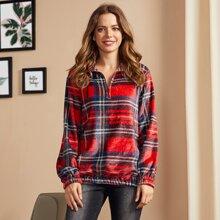 LUUKSE Sweatshirt mit halbem Reissverschluss, sehr tief angesetzter Schulterpartie und Karo Muster