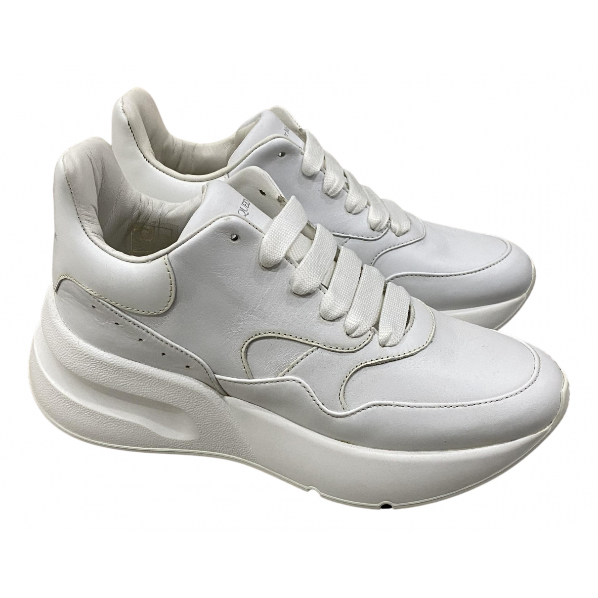 Alexander Mcqueen Oversize White Leather Trainers for Women 35 EU