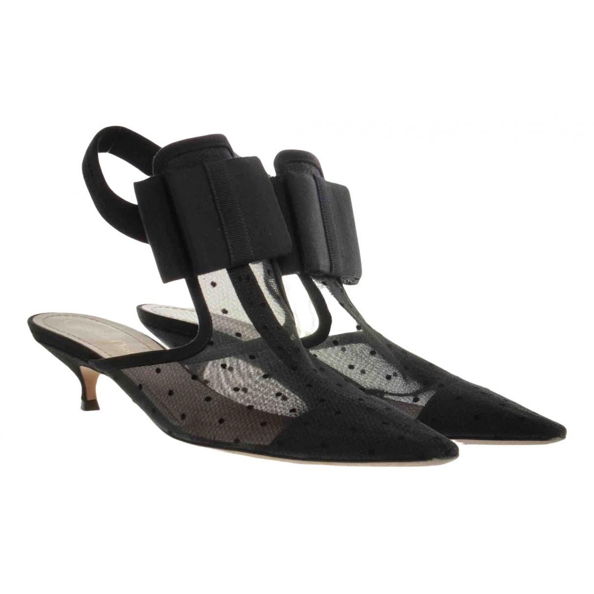 Dior N Black Leather Heels for Women 38 EU