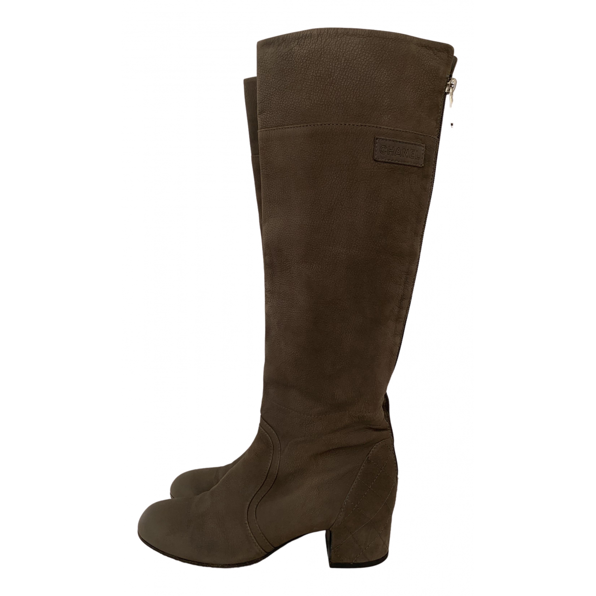 Chanel \N Grey Leather Boots for Women 38.5 EU