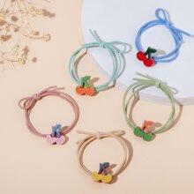 5pcs Toddler Girls Cherry Decor Hair Tie