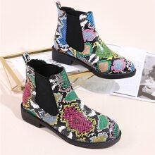 Snakeskin Print Chelsea Boots