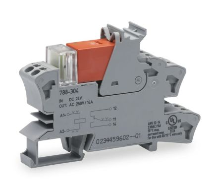 Wago 788 Series , 24V dc SPDT Relay Socket, Cage Clamp Terminal , DIN Rail