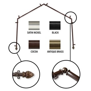 InStyleDesign Lotus 4-Sided Bay Window Curtain Rod (Brown Finish - Cocoa)