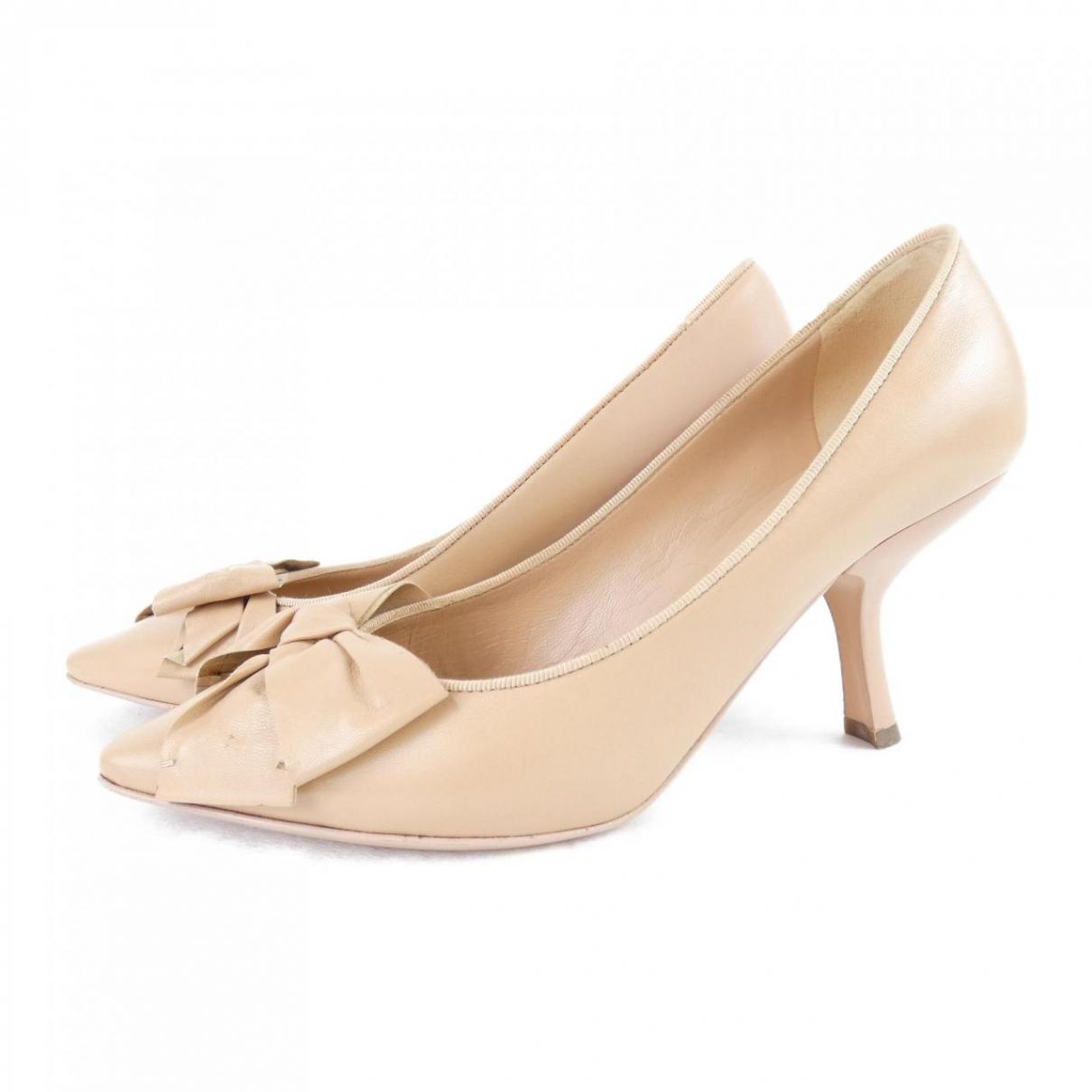 Bottega Veneta \N Beige Leather Heels for Women 36 EU
