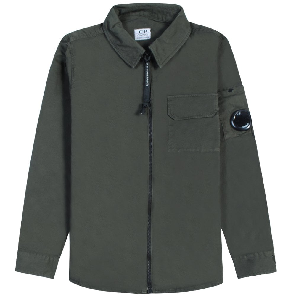 C.p. Company C.P Company Kids Long Sleeve Zip Shirt Colour: DARK GREEN, Size: 8 YEARS