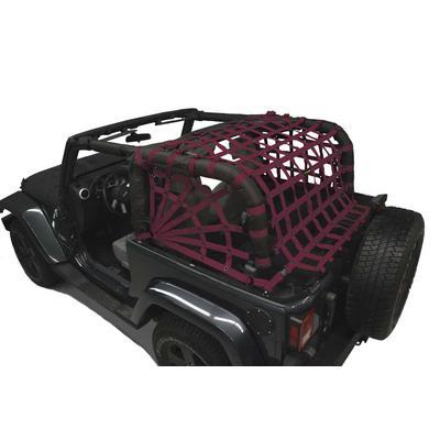DirtyDog 4x4 Rear Upper Cargo Netting with Spider Sides (Maroon) - J2NN07RSMR
