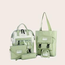 5pcs Letter Graphic Backpack Set