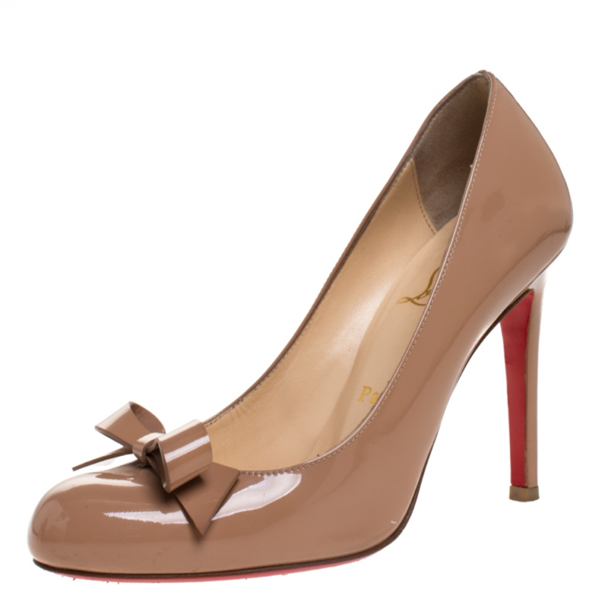 Christian Louboutin N Beige Patent leather Heels for Women 5 US