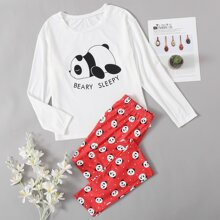 Letter & Panda Print Top & Pants PJ Set
