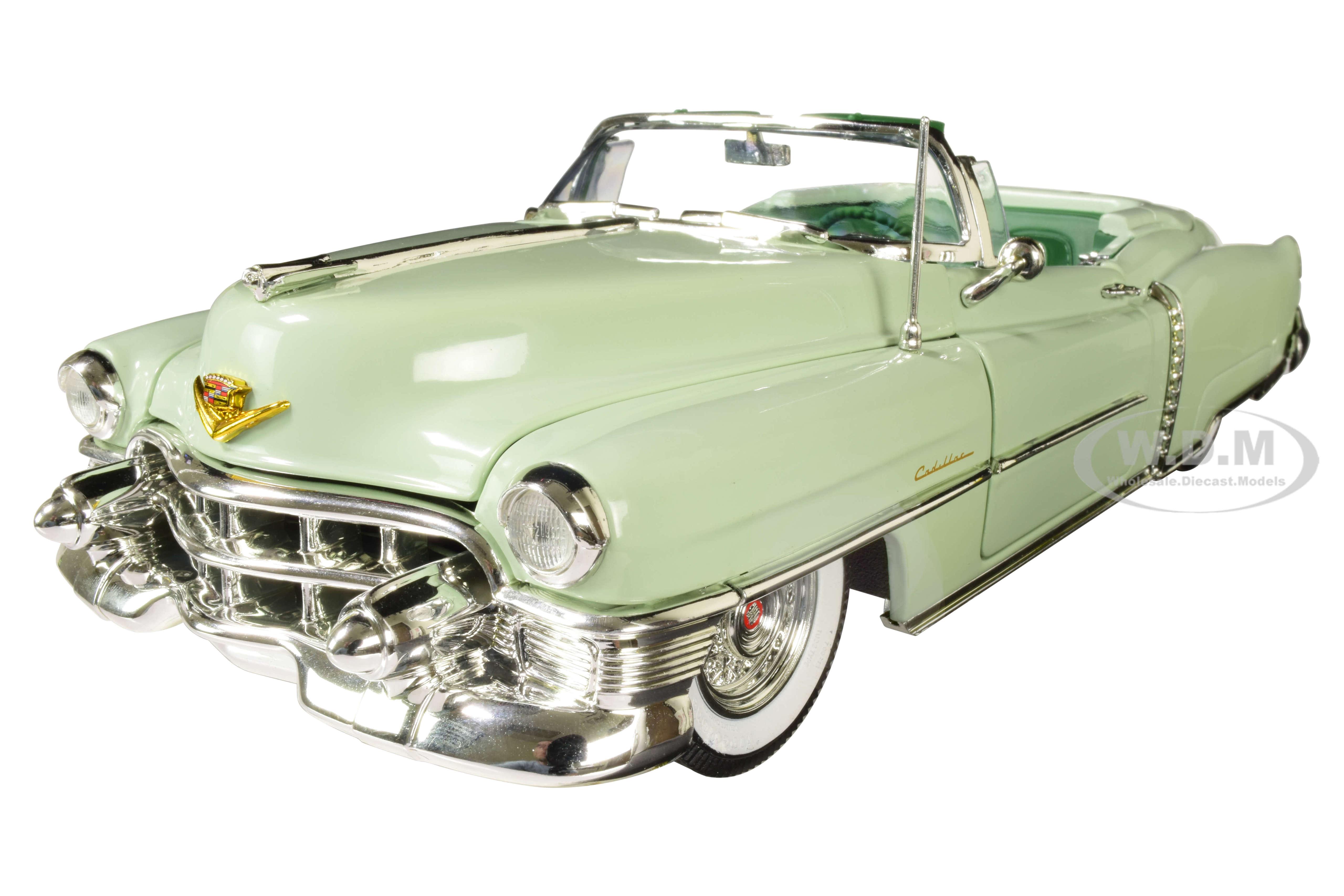 1953 Cadillac Eldorado Convertible Gloss Light Green with Dark Green Interior 1/18 Diecast Model Car by Autoworld