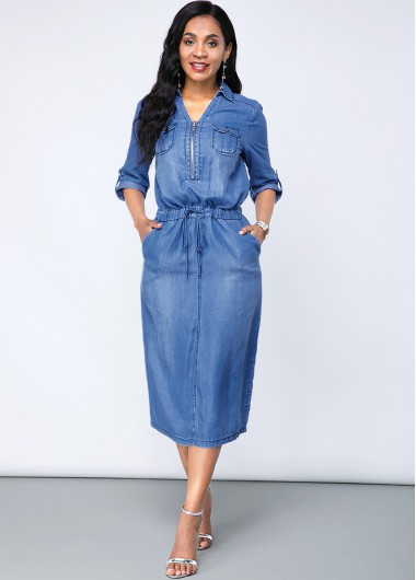 Cocktail Party Dress Denim Chest Pocket Turndown Collar Dress - L