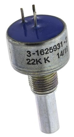 TE Connectivity 1 Gang Rotary Cermet Potentiometer with an 6.35 mm Dia. Shaft - 22kΩ, ±10%, 2W Power Rating, Linear,