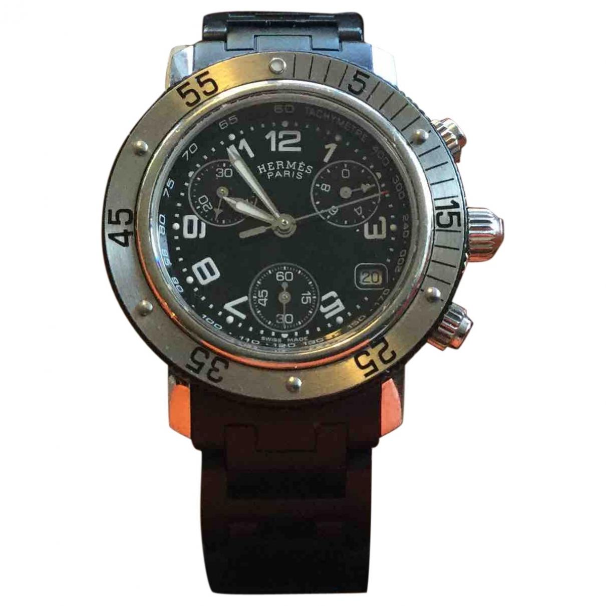 Hermès Clipper Chronographe Black Steel watch for Women \N
