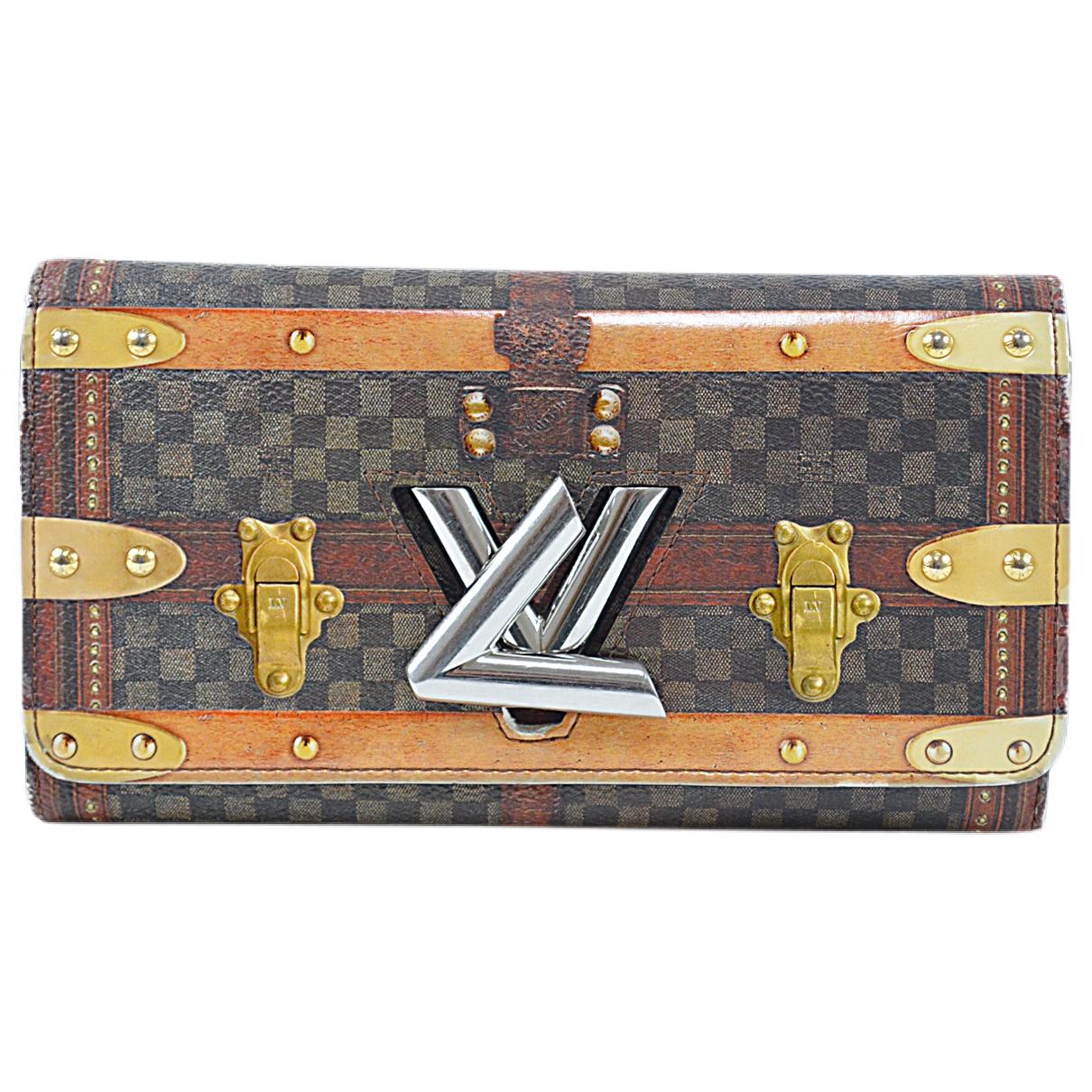 Louis Vuitton - Portefeuille Twist pour femme en toile - marron