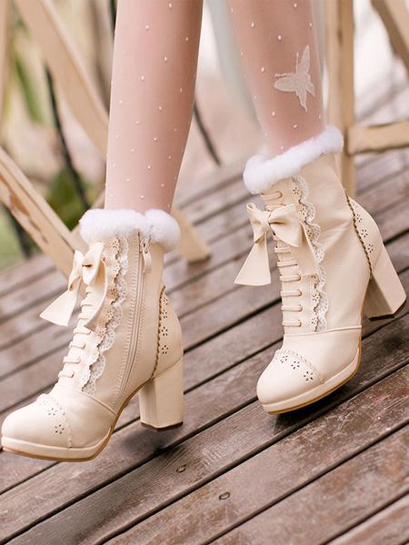 Milanoo Sweet Lolita Boots Bow Frill Furry Chunky Heel White Lolita Footwear